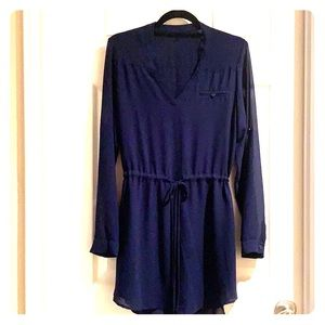 Midnight Blue Drawstring Mini Dress/Tunic